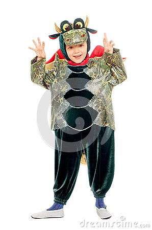 Joyful kid in a dragon costume