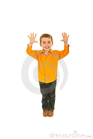 Joyful kid showing ten fingers