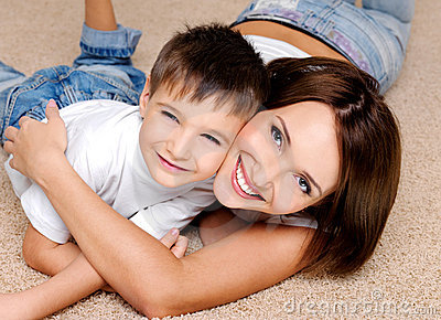 Joyful  laughing  mother and her  little boy