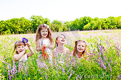 Joyful little girls