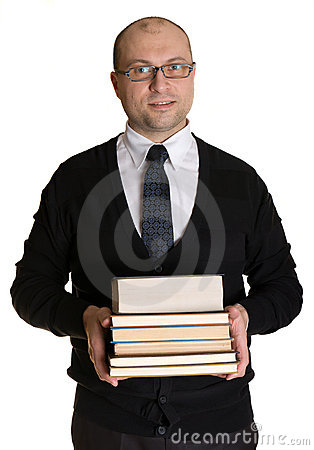 Joyful man with books