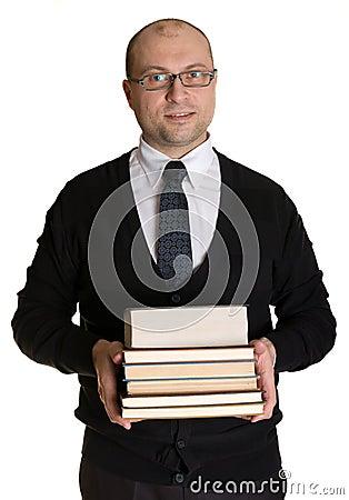 Joyful man with books