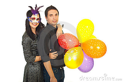 Joyful party couple