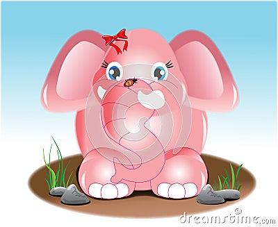 Joyful pink elephant illiustration