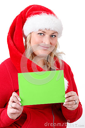 Joyful pretty santa woman with empty sign