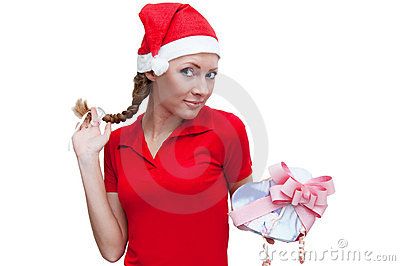 Joyful Santa helper with heart-shaped present box