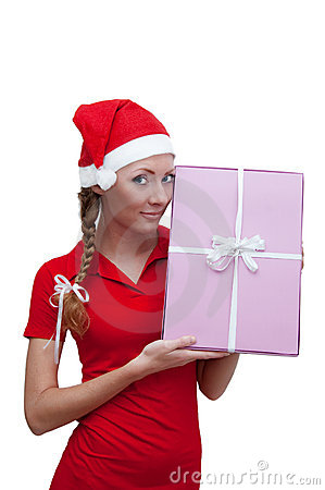 Joyful Santa helper with pink present box