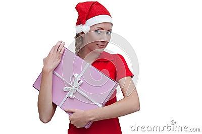 Joyful Santa helper with pink present box