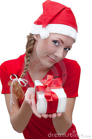 Joyful Santa helper with present box