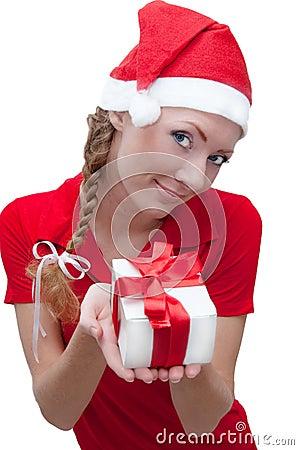 Joyful Santa helper with present box