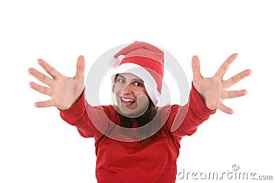 Joyful santa woman with arms wide open