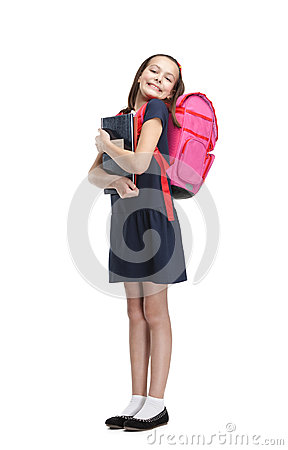Joyful schoolgirl with the briefcase