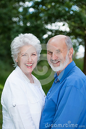Joyful senior couple enjoying nature