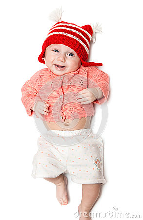 Joyful smiling baby on white