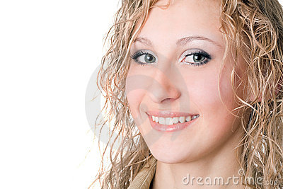 Joyful smiling blond woman