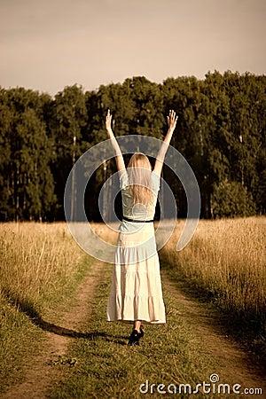 Free Joyful Stretching Girl Stock Photo - 2476010