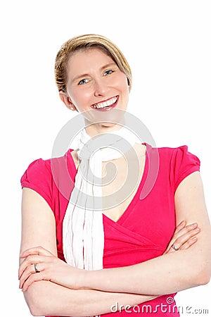 Joyful stylish blond woman