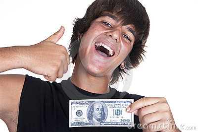 Joyful teenager with $ 100 bills