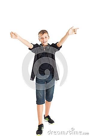 Joyful teenager boy.