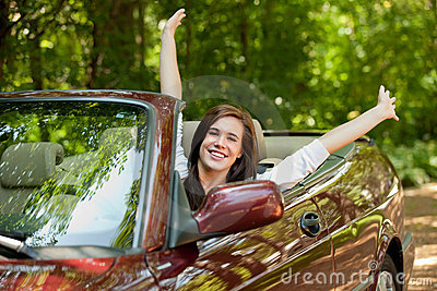 Joyful Teenager Female Driver Cheerful