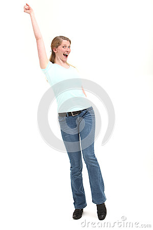 Joyful woman with arm raised