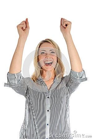 Joyful woman with arms raised