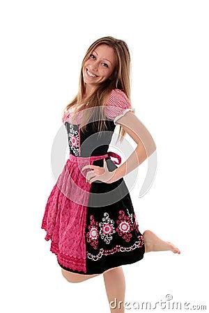 Joyful woman in dirndl