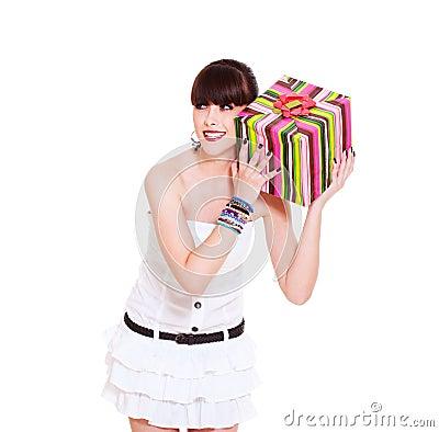 Joyful woman with gift