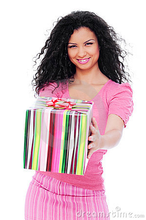 Joyful woman with gift box