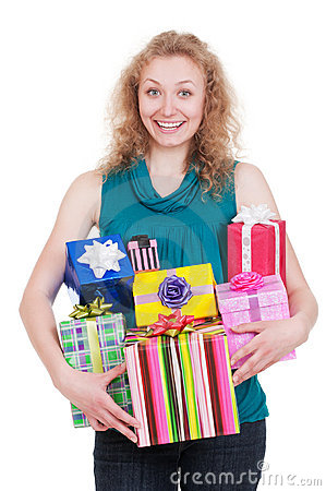 Joyful woman with gift boxes