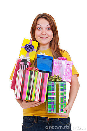 Joyful woman with gifts
