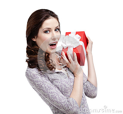 Joyful woman hands a gift