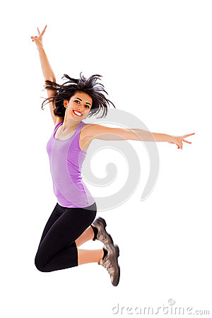 Joyful Woman Jumping