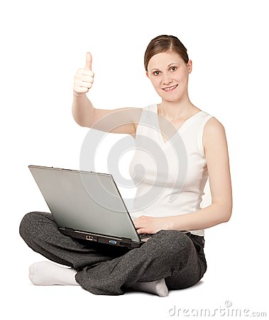 Joyful woman with laptop