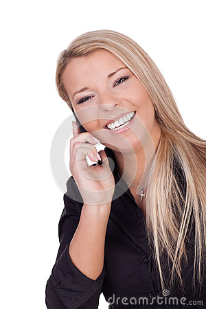 Joyful woman listening to her mobile