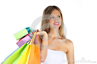 Joyful woman makes shopping