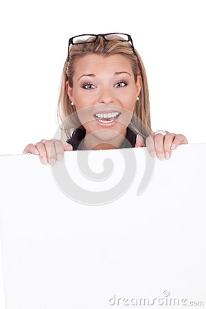 Joyful woman with white board