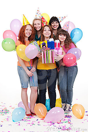 Joyful women with gifts and balloons