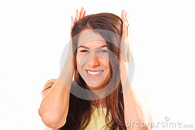 Joyful young brunette woman