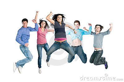 Joyful young happy people jumping