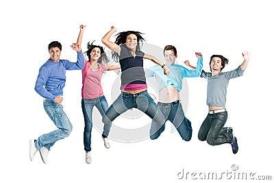 Joyful young happy people jumping