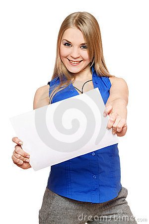 Joyful young woman holding empty white board