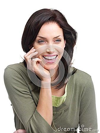 Joyful young woman looking at copyspace