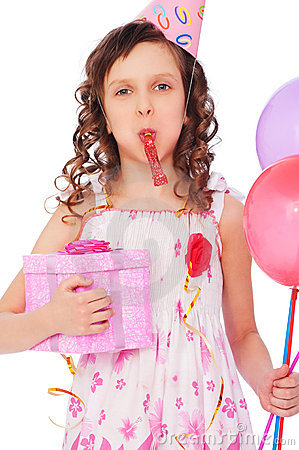 Joyous girl with balloons and gift box