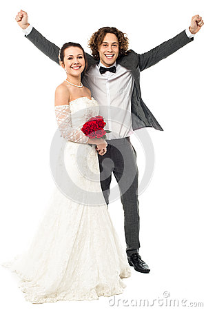 Joyous newlywed couple, excited guy
