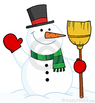 Joyous snowman holding a broom and waving