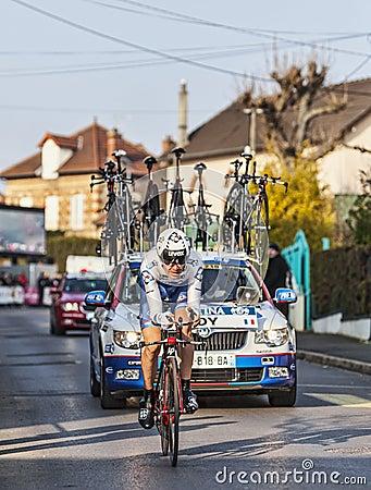 骑自行车者Jérémy罗伊巴黎尼斯2013年序幕在Houilles 编辑类库存照片