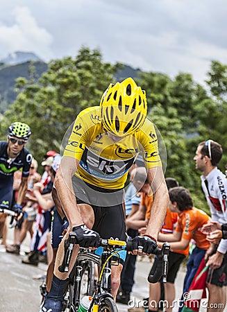 Jérsei amarelo em Alpe d Huez Imagem de Stock Editorial