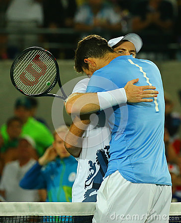 Free Juan Martin Del Potro R Congratulates Olympic Champion Andy Murray Of Great Britain With His Victory At Men`s Singles Final Royalty Free Stock Photography - 81363867