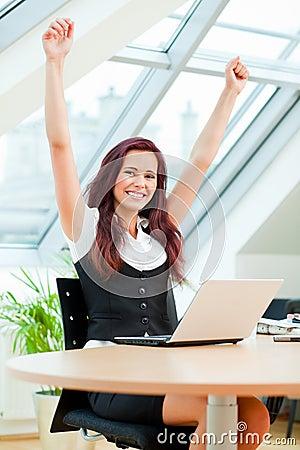 Free Jubilant Female Clerk Stock Image - 14656561